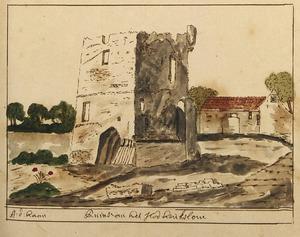 kasteel Heukelum na de verwoesting in 1672, vanuit het noordoosten