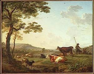 Weidelandschap met herder en koeien, geiten en schapen bij een rivier