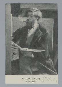 Portret van de schilder Anton Mauve werkend achter zijn ezel