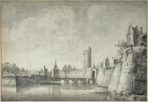 Stadsmuur tussen Manenburg en Sterrenburg te Utrecht met de Tolsteegbrug, de Tolsteegpoort en de Bijlhouwerstoren