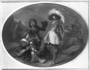 Gezelschap van een officier, soldaten en jonge vrouwen in een wachtlokaal