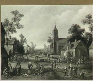 Dorpsgezicht met kerktoren