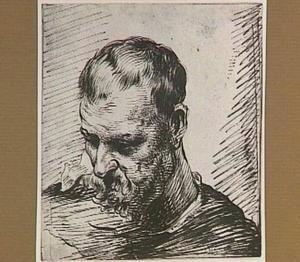 Kop van een man met baard, naar links