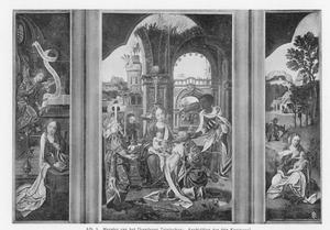 De annunciatie (links), de aanbidding van de Wijzen (midden), de rust op de vlucht naar Egypte (rechts)