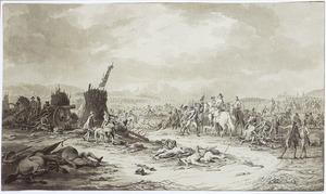 Officiers te paard inspecteren een slagveld