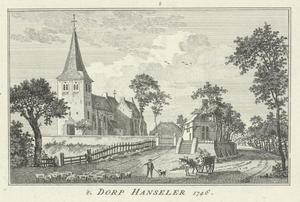 Het dorp Hanselaer (Duitsland) met de St. Antoniuskerk