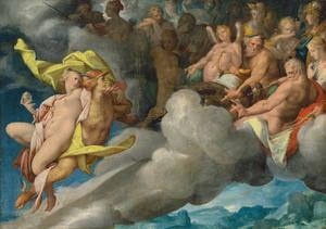 Mercurius draagt Psyche naar de berg Olympus