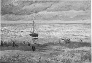 Het strand van Scheveningen bij stormachtig weer