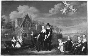 Portret van Daniel Hendrick Lestevenon (1600-1661), Anna Margaretha Venturin (1600-1679), hun kinderen en een min; op de achtergrond het buitenhuis aan de Weespervaart tussen Diemen en Muiden