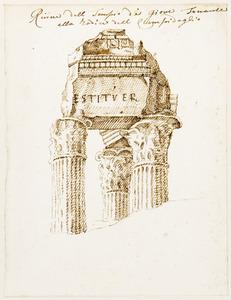 Rome, de tempel van Vespasianus op het Forum Romanum