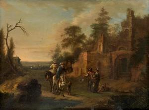 Italianiserend landschap met ruiters en bedelaars bij een ruïne