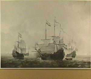 Oorlogsschepen 't Huis te Swieten', de 'Walcheren' en de 'Amsterdam' behorende tot de vloot van Vice-admiraal De Ruyter bij hun vertrek naar Portugal in 1658