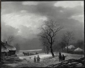 Winterlandschap met figuren en paard en wagen
