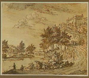 Rivierlandschap met figuren, rechts op een heuvel een kasteel