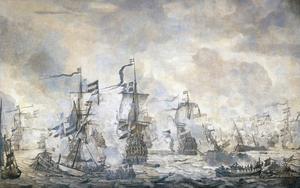 Episode uit de Slag op het Sont, 8 november 1658; algemeen overzicht na de zeeslag met o.a. de 'Carolus', de 'Eendraght', de 'Wismar', de 'Brederode', de Pelikan', de 'Krona', de 'Amarant' en de 'Maria'