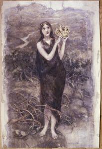 Staande vrouw met kroon