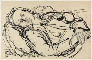 Portret van Amrey (Annemarie Balsiger) ziek op bed liggend
