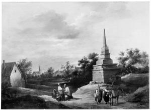 Landschap met groepjes mensen bij een Antwerpse grenspaal