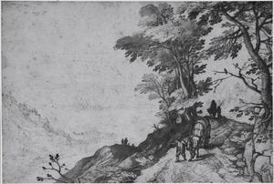 Berglandschap met reizigers en uitzicht op dal met rivier