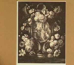 Bloemenkrans met daarin een voorstelling van Christus en de centurion