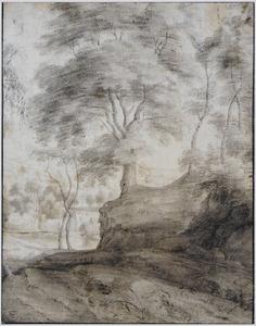 Bomen, op de achtergrond een dorp
