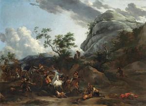 Berglandschap met reizigers die aangevallen worden