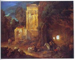 Bebost landschap met figuren bij antieke ruïnes