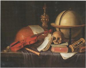 Vanitasstilleven met muziekinstrumenten, globe en schedel