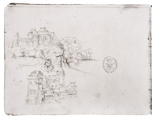 Rotslandschap met fantasie-architectuur (boven) en fantastisch kasteel (onder)