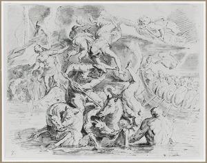 Neptunus ontketent de storm voor de vloot van Odysseus