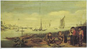 Rivierlandschap met op de oever visverkopers