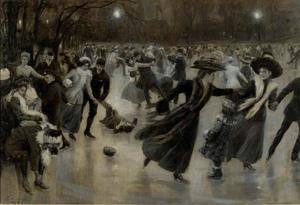 Een grote menigte schaatsend in een park bij avond