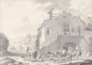 Italianiserend landschap met herders bij een huis