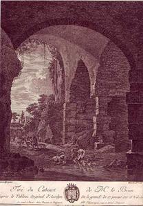 Reizigers bij een doorwaarbare plaats onder een ruïnegewelf