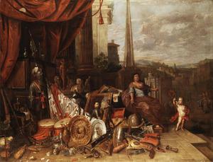 Allegorisch stilleven met een harnas, vaandel, wapens en kunstvoorwerpen op een bordes, op de achtergrond een stad