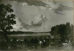 Keurvorst Friedrich III (koning Friedrich I) op jacht bij rivier de Havel