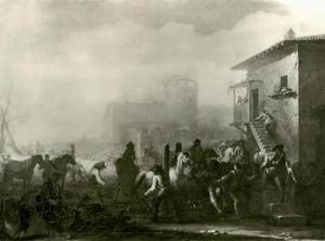 Paardendressuur in een zuidelijke stad