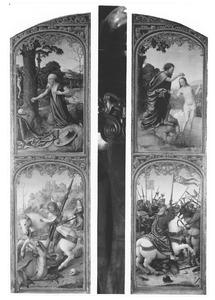 De boetvaardige  H. Hiëronymus, De H. Joris en de draak (rechterluik); De doop van Christus, De H. Jacobus de Meerdere verslaat de Saracenen (linkerluik)