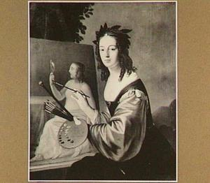 Portret van een jonge vrouw als Pictura