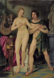 Pygmalion wordt verliefd op de tot leven gewekte Galatea  (Ovidius, Metamorfosen,  X 280)