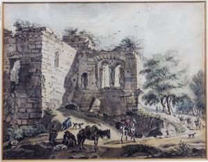 Figuren en pakpaard bij ruïne