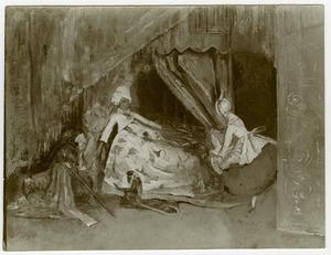 Poppenstilleven met mannelijke pop in bed