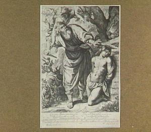 Een engel weerhoudt Abraham om Isaak te slachten (Genesis 22:10-12)