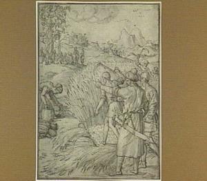 Boaz vraagt zijn dienaar, wie die vrouw is, die aren leest op het veld (Ruth 2:5-17)