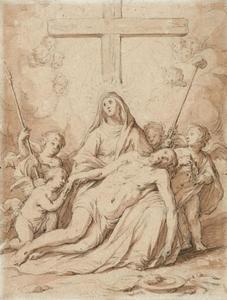 Pietà met engeltjes en Arma Christi