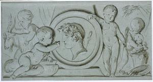 Medaillon met Bacchuskop omgeven door vier putti