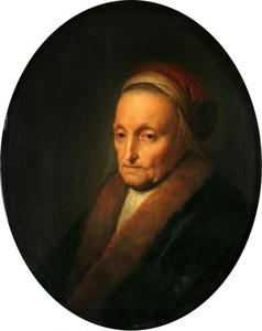 Portret van een oude vrouw met bontkraag