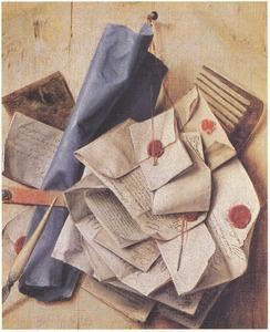 Trompe-l'oeil brievenbord met rol blauw papier