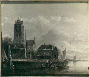 Gezicht op Dordrecht met de Grote of Onze-Lieve-Vrouwekerk en de Nieuwe Vuilpoort