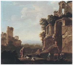Zuidelijk landschap met herders bij een ruïne